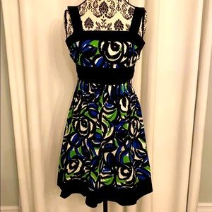 Speechless Blue Green Swirl Print Dress black sash